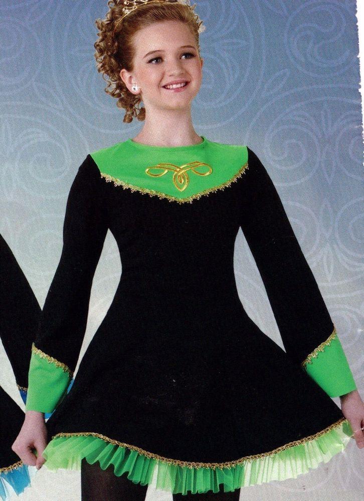 NWT Irish Dance Costume Black Dress w/ Lime Petticoat Gold Celtic Motif Girls #WolffFordingCo