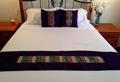 Purple-Table-Bed-Runner-Patchwork-Insert-2-metres-Cotton-Satin-Bali-Ethnic $26.98