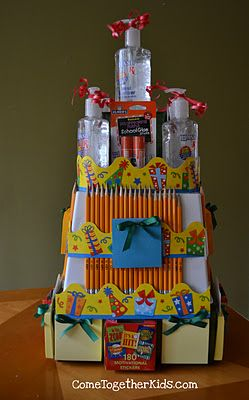 "Cute teacher gift idea: Come Together Kids: School Supplies ""Cake"""