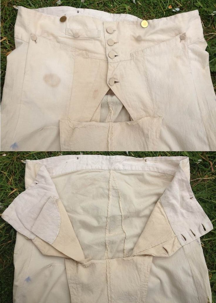 I could have used this image while trying to get Nick out of his breeches. 1790s breeches. Detail of breeches' opening. Natural colour linen. Narrow fall front, fastening with self-covered buttons. Brass buttons at waist (may not be original). Knee fastening with buttons and a strap. Fob pocket on right hand side. Side pockets closed with a button. Typical loose fitting at the back.