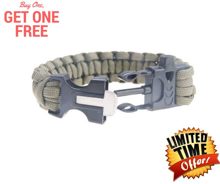 Outdoor Survival Bracelet Paracord Flint Fire Starter Scraper & Whistle - FREE SHIPPING