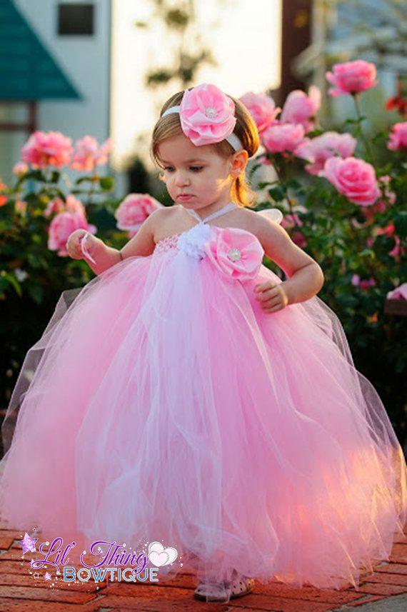 Pink tutu dress princess dress pink flower girl by LilPoshBtq,