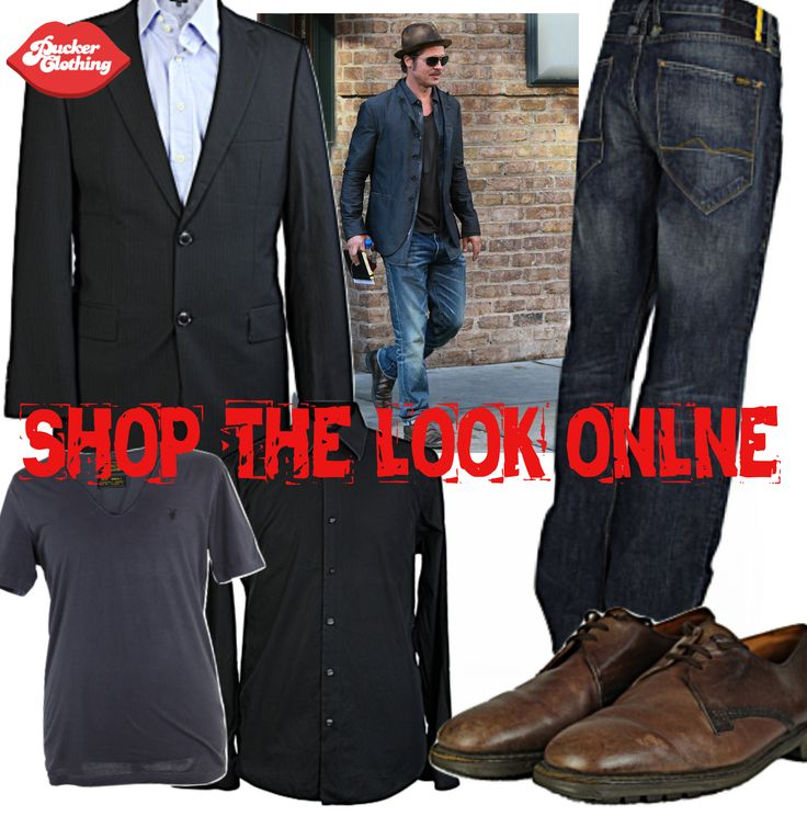 Celebrity Style - Recreate the Brad Pitt look from Pucker Clothing. Gucci Mens Blazer Jacket Zara Mens Jeans Loose Relaxed Fit Hugo Boss Mens Shirt All Saints Mens T-Shirt V Neck Loake Mens Shoes Commando Lace Ups All available online www.puckerclothinguk.com