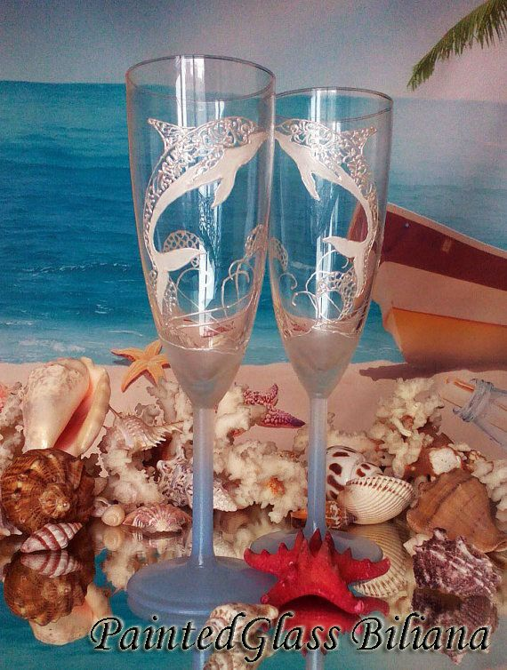 The 24 best beach sea theme images on pinterest ocean themes sea dolphin wedding glasses champagne flutes set of 2 beach sea wedding theme cake serving set junglespirit Images