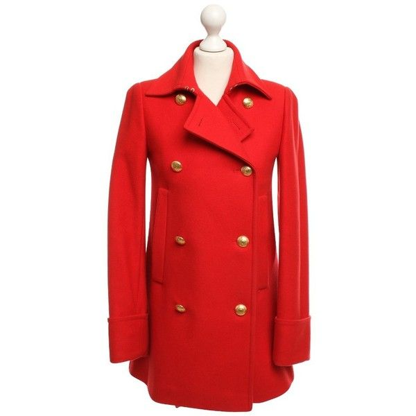 Pre-owned Coat in red (6,270 MXN) ❤ liked on Polyvore featuring outerwear, coats, red, wool coats, red coat, mcq by alexander mcqueen, woolen coat and red wool coat