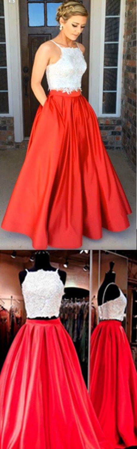 White And Red Prom Dresses Modern Two Piece Prom Dresses Square Neck Floor-Length Ruched Red Prom Dress with Beading Pockets