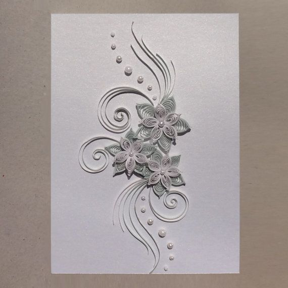 Paper Quilling - wedding handmade greeting card with quilled 3D paper flowers in pearl white