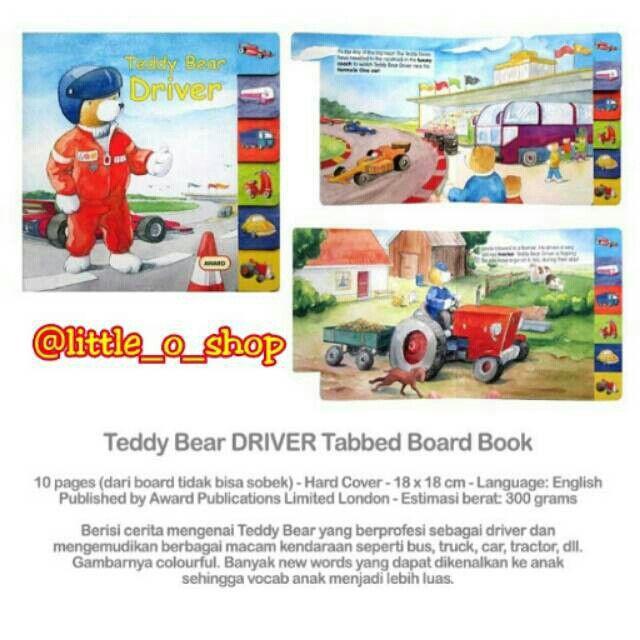 Saya menjual Teddy Bear DRIVER Tabbed Board Book seharga Rp55.000. Dapatkan produk ini hanya di Shopee! http://shopee.co.id/littleoshop/1181416 #ShopeeID