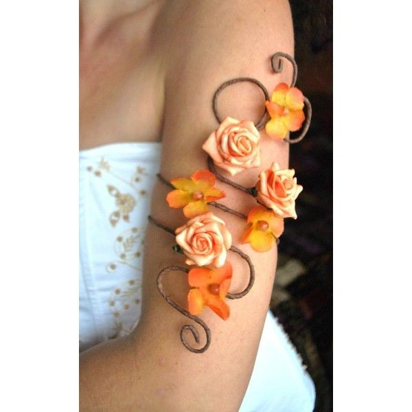Matching arm cuffs upper and lower order any colour flower and vine... ❤ liked on Polyvore featuring jewelry, bracelets, prom jewellery, cuff jewelry, bride jewelry, fancy jewelry and orange bangles