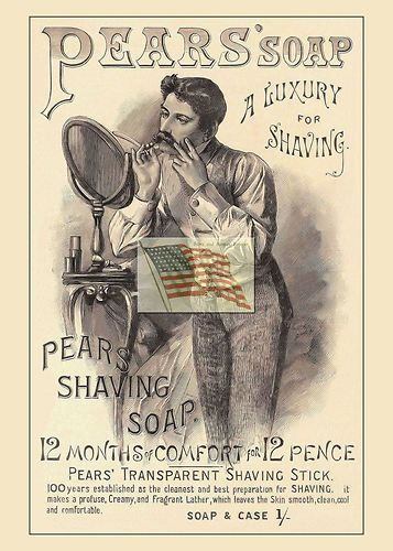 PEARS' SOAP ad 1886 - man shaving at mirror stand  $6.30 (new)