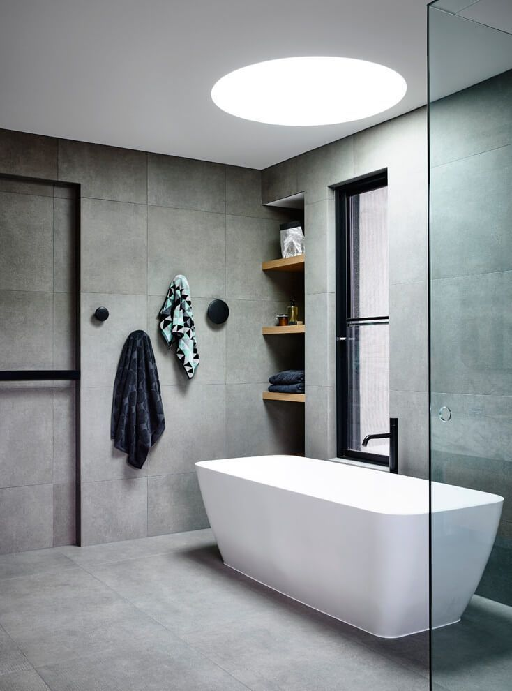 Inspirational bathroom! Recreate the look with our very similar Marblo Mojo rectangle freestanding resin bath (available in 3 sizes) as well as our black Frost LuLu hook set