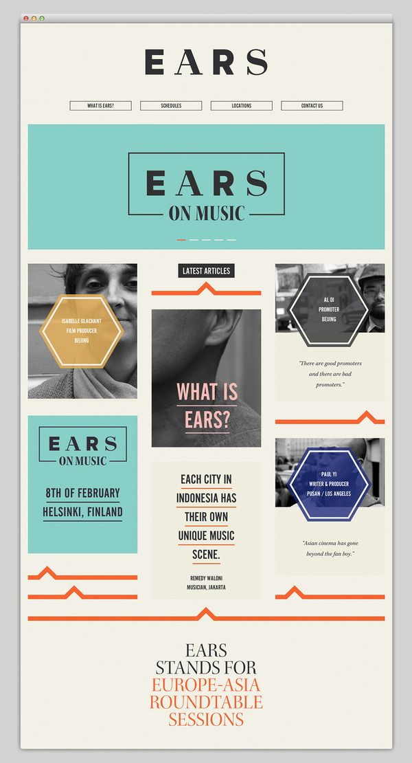 EARS website design--  easy to read, great functionality and a good design with a nice use of color