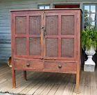 Pie safe original red paint over mustard circa 1840 16 tins tombstone design