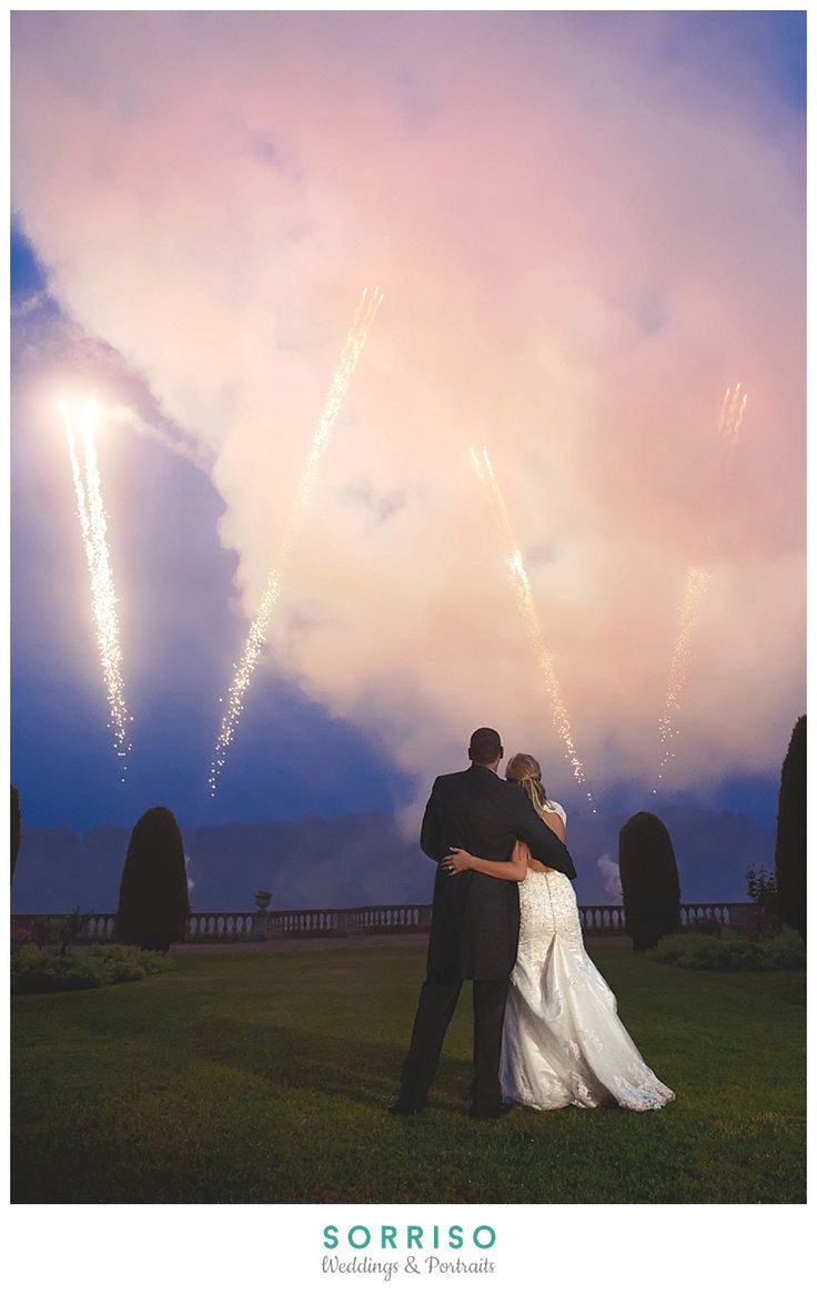 budget wedding photography west midlands%0A Wedding at Prestwold Hall Leicestershire  Bride and Groom watch Firework  Display  Photograph by West Midlands Wedding Photographer Priya Walia of  SORRISO