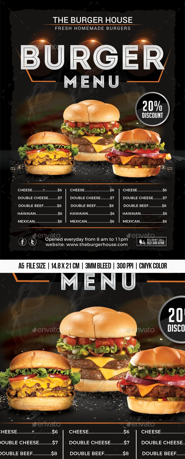 Burger Menu Flyer Template PSD  Flyer Templates  Recettes de boissons Sandwicherie