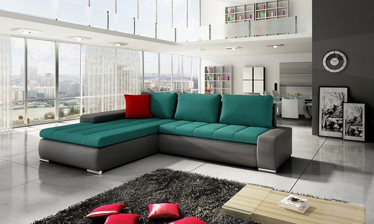 What's the colour! Magically he will underline your beautiful living room. Check it!  Co za kolor! Magicznie podkreśli piękno Twojego salonu. Sprawdź! #cornersofa #mirjan24 #sofa #home #salon #dom