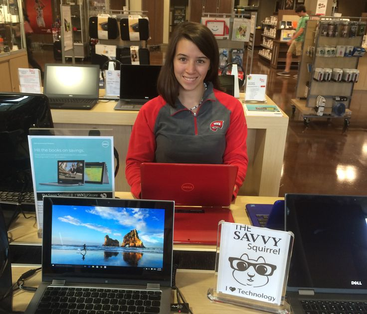 Dell Red 2-in-1 Tablet/Laptop at The Savvy Squirrel inside The WKU Store.