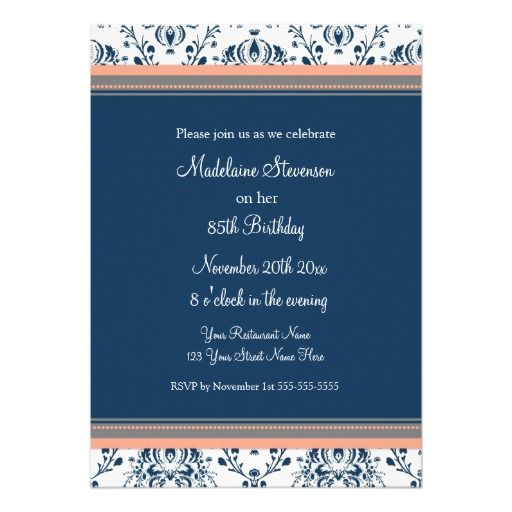 Blue Damask 85th Birthday Party Invitations