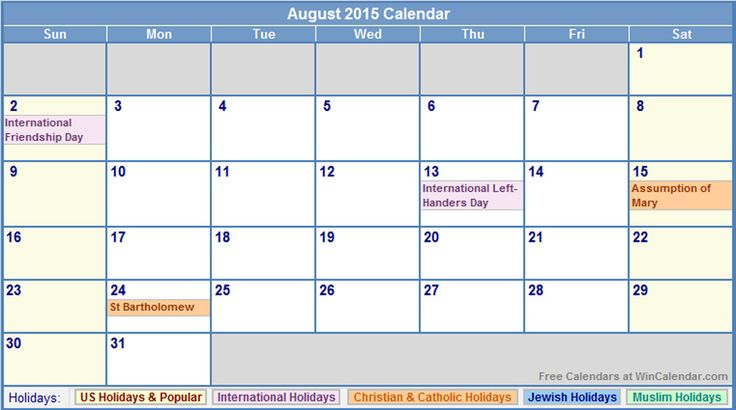 Aug 2015 Calendar with Holidays - This Calendar Portal provides you Free Printable Calendar, Template, Pdf, Word, Excel, Image. Here you can search all the monthly calendars