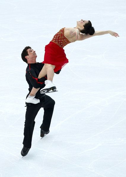 Tessa Virtue and Scott Moir of Canada competes in the Team Ladies Free Skating during day two of the Sochi 2014 Winter Olympics at Iceberg S...
