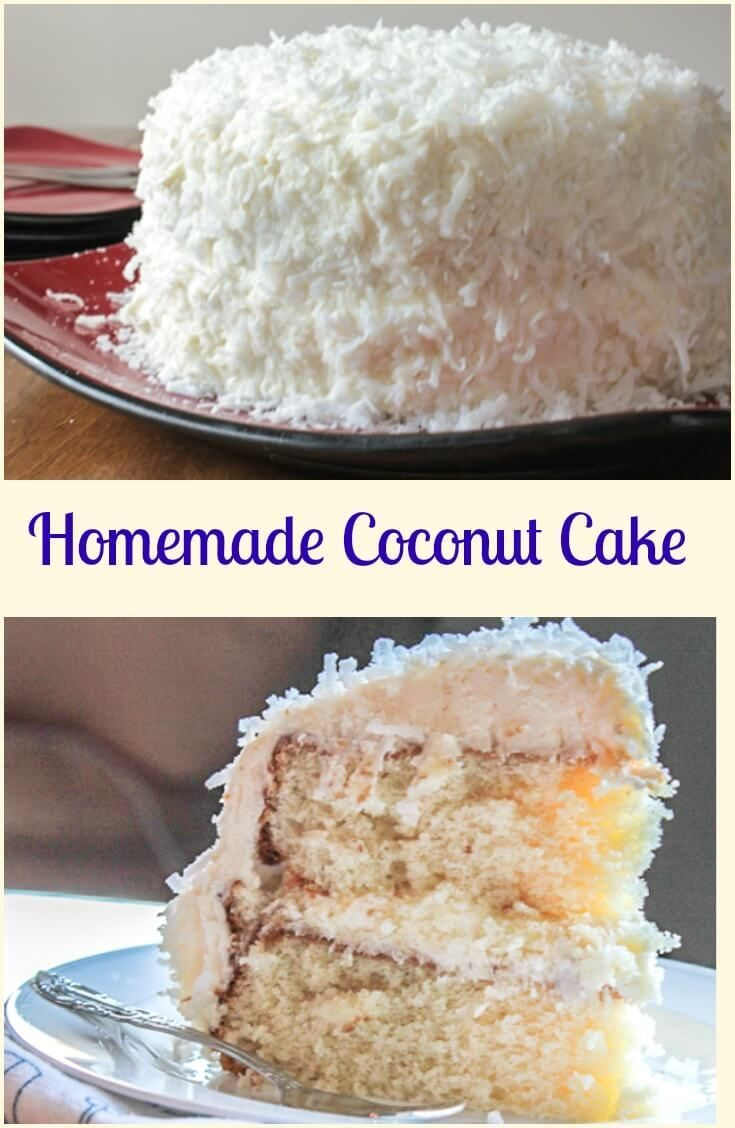 Coconut Cake, a delicious soft, moist cake with a creamy cream cheese frosting. Topped with coconut flakes, a perfect Christmas dessert. via /https/://it.pinterest.com/Italianinkitchn/