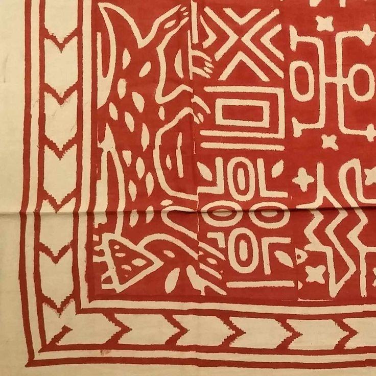 Handmade 100% Cotton Dabu Brush Print Tapestry Tablecloth Bedspread Coverlet Beach Sheet Bed Sheet Queen 106x106 Brick Red