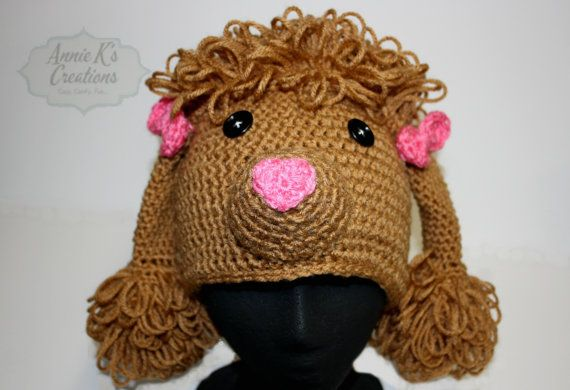 Tan Poodle Hat for Teens or Adults by anniekscreations on Etsy