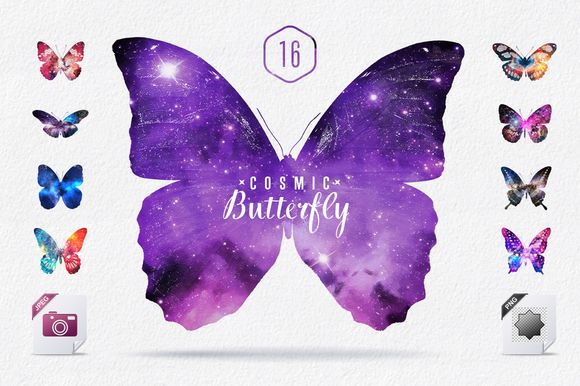 Cosmic Butterfly Set JPG & PNG by Creative Stuff on Creative Market