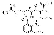 Argatroban is a thrombin inhibitor. It is for thrombosis in patients with heparin-induced thrombocytopenia (HIT). Because of its hepatic metabolism, it may be used in patients with renal dysfunction. (This is in contrast to lepirudin, a direct thrombin inhibitor that is primarily renally cleared). Argatroban is used as an anticoagulant in individuals with thrombosis and heparin induced thrombocytopenia. Often these individuals require long term anticoagulation.