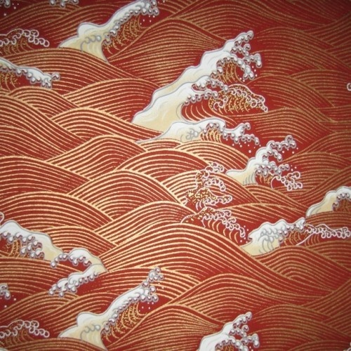 Japanese Yuzen Chiyogami paper. Bronze Rust Brown Wave Pattern   © mosaicmouse 2011