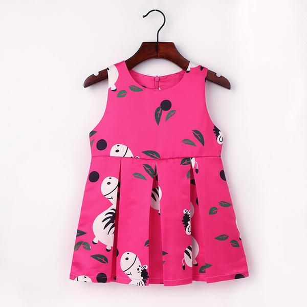 2-6Y Cute Horse-Print Dress For Girls 2017 O-Neck Sleeveless Dresses Girls Pattern Clothes Children Princess Dress Kids Clothing