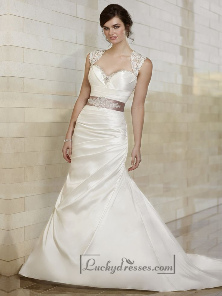 Luxury Beaded Queen Anne Mermaid Wedding Dresses with Keyhole Back Sale On LuckyDresses.com With Top Quality And Discount