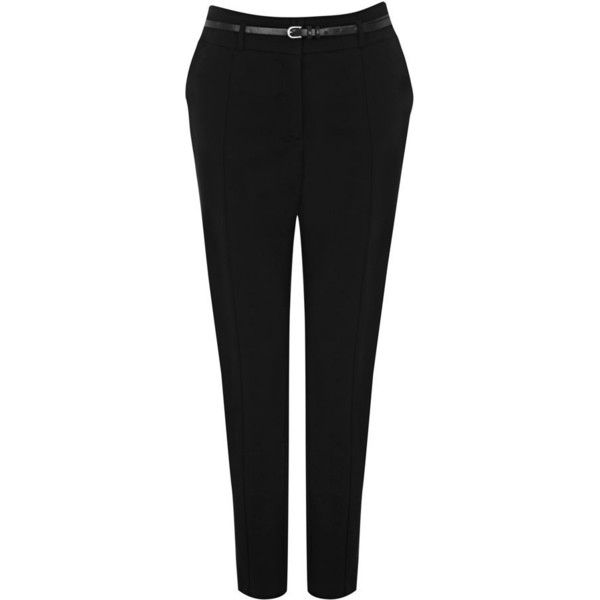 Oasis cotton belted trouser (£35) ❤ liked on Polyvore featuring pants, capris, cotton skinny pants, cropped trousers, skinny trousers, cotton trousers and skinny crop pants