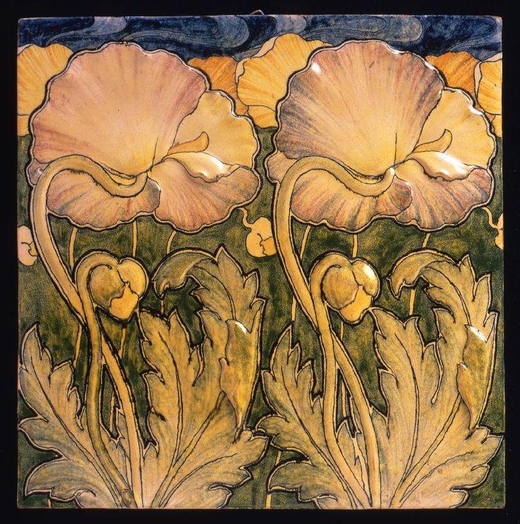 Tile poppies motif tile, artist: Galileo Chini, maker: Arte della Ceramica, circa: 1898-1902, material: earthenware   JV