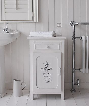 Antique white french bathroom cabinet with drawer and cupboard for great bathroom storage