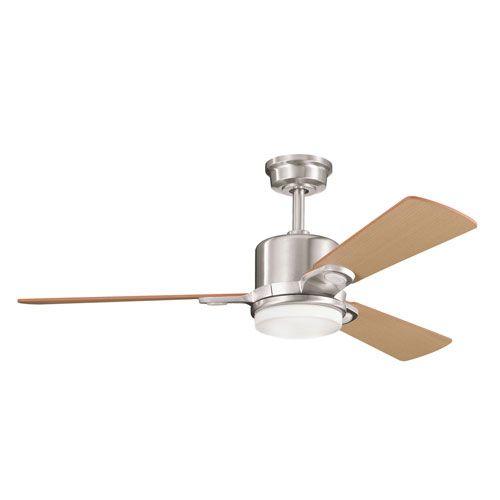 Celino Brushed Stainless Steel Two Light 48 Inch Ceiling Fan Kichler Stem Mounted Fan Ceil