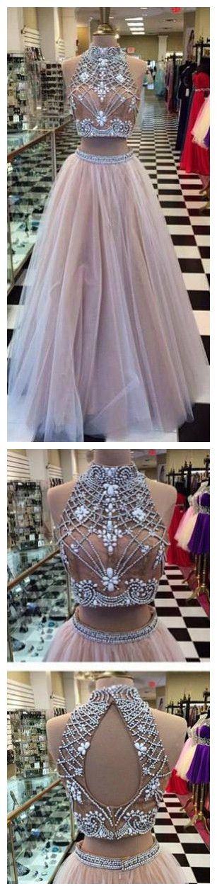 2 Pieces dresses, Beaded prom Dresses, Long prom dresses, 2017 prom dresses, sexy prom dresses - Ok Bridal Store