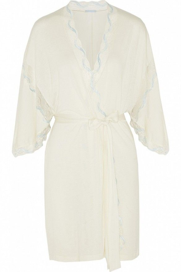 Eberjey Something Blue Lace-Trimmed Jersey Robe // white robe