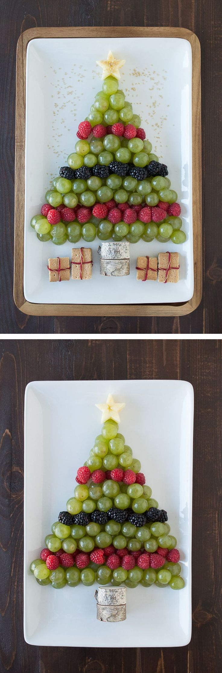 Create a healthy fruit platter for Christmas in the shape of a christmas tree using an apple, grapes, raspberries, blackberries, and graham crackers
