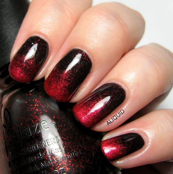 45+ Stylish Red and Black Nail Designs | Red ombre nails ...