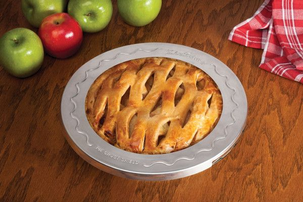 Mrs. Anderson's Baking Pie Crust Shield. Just slide this Pie Crust Shield over your pie before baking. It is much more convenient to use than foil.