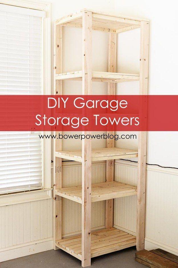 Construye una torre de almacenamiento para ubicarla en un rincón vacío. | 38 ideas para organizar tu garaje que son prácticamente geniales