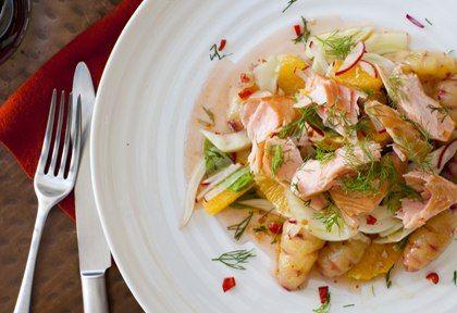 Roast Yam, Fennel And Orange With Regal Wood Roasted Salmon