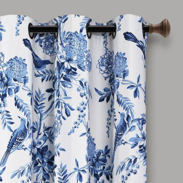 Set Of 2 95 X38 Farmhouse Bird And Flower Insulated Grommet Top Blackout Window Curtain Panels White Blue Lush Decor In 2021 Blue And White Living Room Blue And White Curtains Blue Blue and white curtain panels