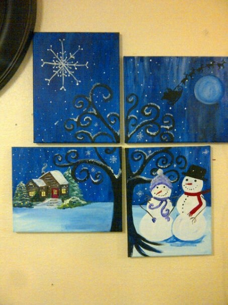 Great Family Night Idea.  Each person paint a part of this collage!
