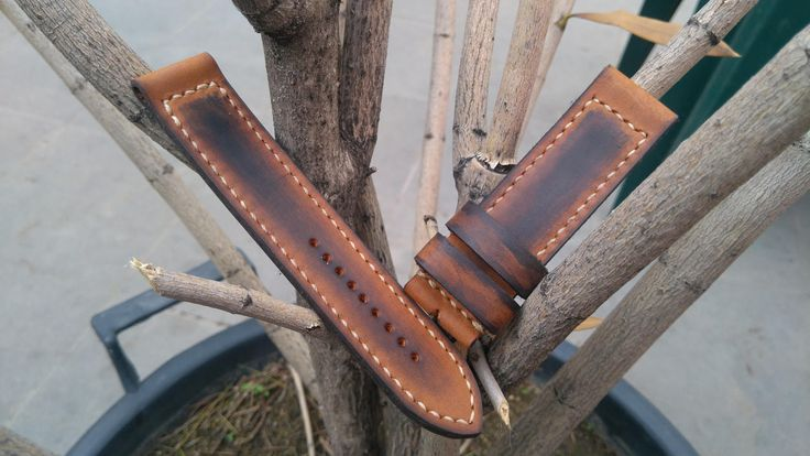 100% Handmade Vintage appearance leather watch strap, men's panerai band, watch bands, leather straps, panerai watch strap 24mm. by LeatherBros on Etsy