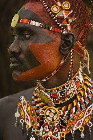 Side profile of highly decorated Samburu Warrior, Africa