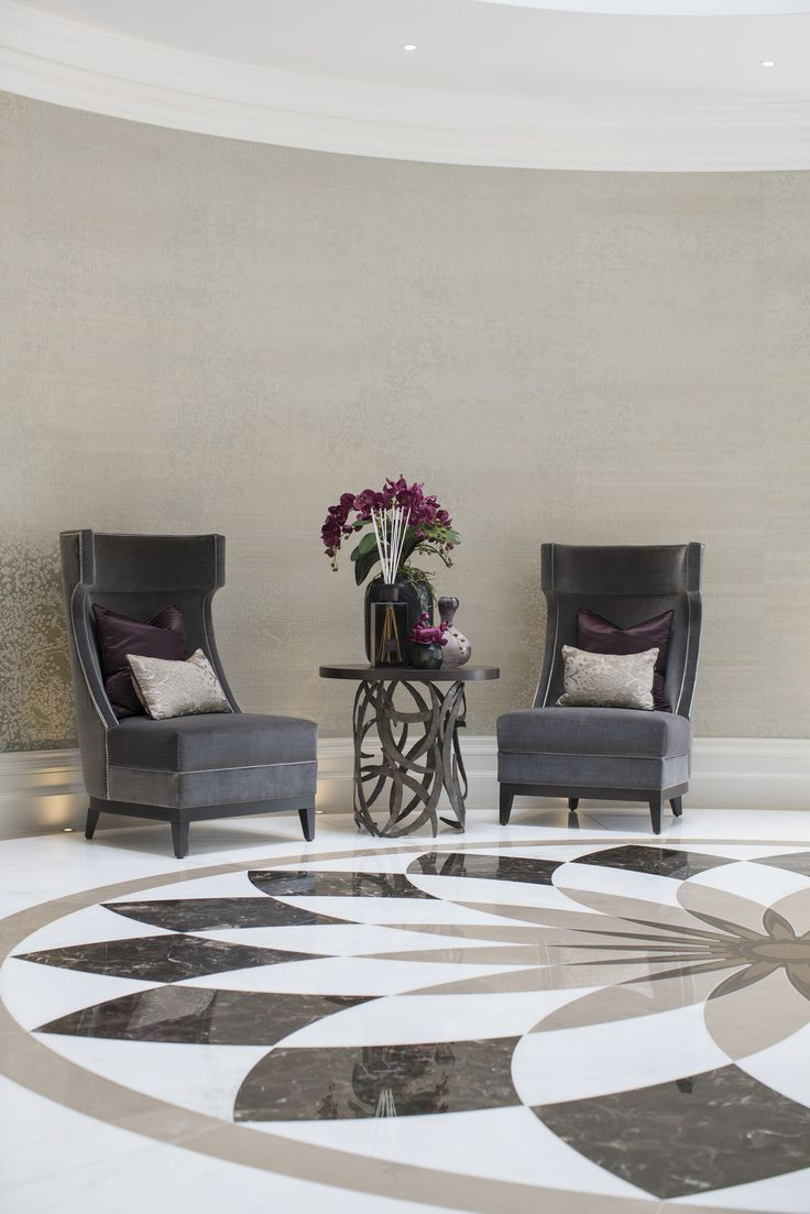 A repeating motif of forged steel ellipse is the hallmark of this magnificent @portaromanauk Miro Drum table, perfectly accompanied by these elegant chairs in exquisite Zoffany @stylelibrary fabric.