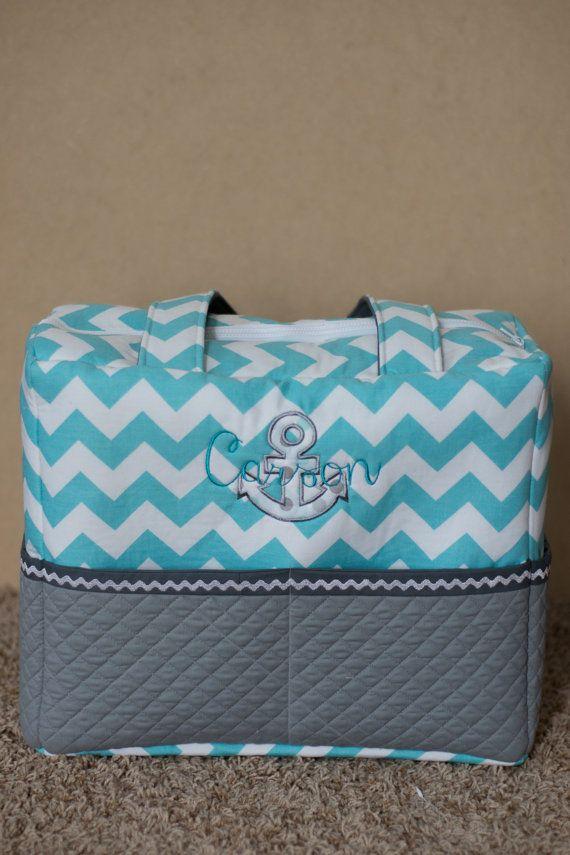 Blue Chevron Anchor Diaper Bag sport Diaper Bag by CraftyJuJu