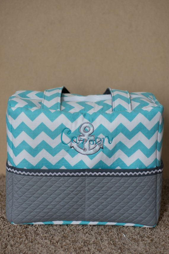 Blue Chevron Anchor Diaper Bag with Personalized Monogram - Monogrammed Diaper bag - Custom diaper Bag - Chevron Diaper Bag - Anchor Bag